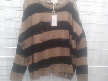 Buy Now: (672) Sweater Trendy Top Brown and Khaki Stripe- PLUS SIZE