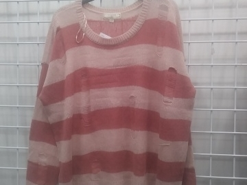 Buy Now: (220) Sweater Trendy Top Coral and Dusty Pink Stripe - PLUS SIZE