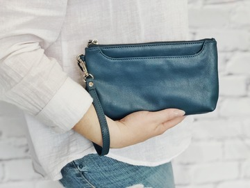 Products: MONICA WALLET - BLUE LEATHER
