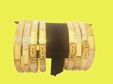 Buy Now: Newest Diamond Studded Micron Plated, Gold Finish Bangles/Bracele