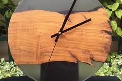 : California Olive Live Edge x Smokey Tinted Epoxy Resin Clock