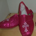 Buy Now: 19 PAIR HOT PINK & BLUE LADIES BLING SLIP ON SHOES WITH CROSS