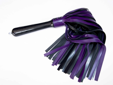 Selling with online payment: Purple and black latex flogger Large