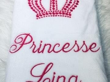 Vente au détail: Couverture  Couronnée à broder avec : Princesse + Prénom