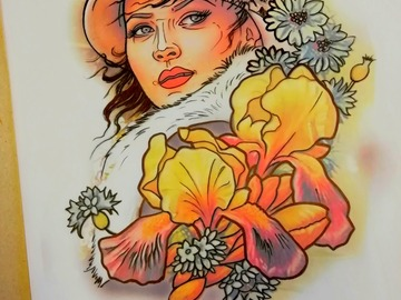 Tattoo design: Lady iris