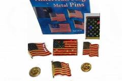 Buy Now: (96) Sets Of 4 American Flag Lapel Pins - Gold Butterfly Backing