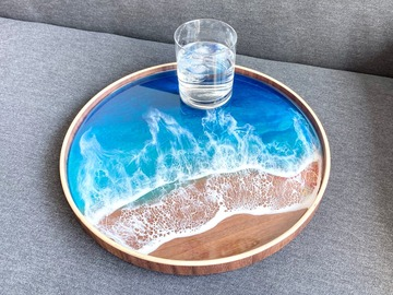 : Wood Serving Tray - Resin Aqua Ocean Painting