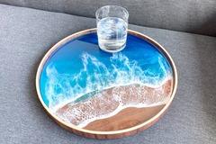 : Wood Serving Tray - Resin Aqua Ocean Painting