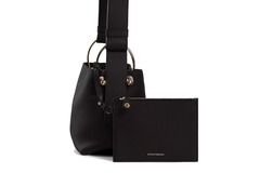For Sale: STRATHBERRY: Lana Nano Black Grain Leather Bucket Bag