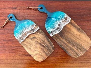 : Cheese Board (S) - Resin Aqua Ocean Painting