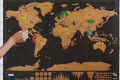 Vente: Carte du monde à gratter modèle Deluxe Scratch Map