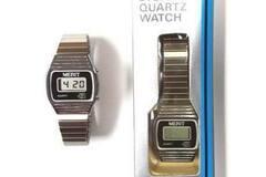 Buy Now: Merit Men's Silver Retro Digital Quartz Watch – Needs New Battery