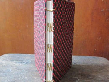 : Chequered Handmade Upcycled French Link Stitch Blank Notebook