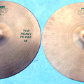 "Selling with online payment: 1980s Paiste  505 Green ink Heavy 14"" Hi-HAT cymbals consec #s"