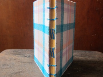 : Candy Tartan Handmade Upcycled French Link Stitch Blank Notebook