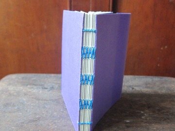 : Purple Handmade French Link Stitch Blank Notebook