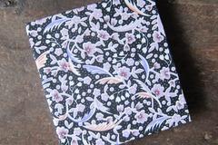 : Black Floral Handmade Upcycled Blank Hardback Notebook
