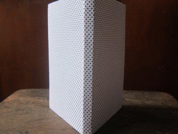 : Micro Blue Squares Handmade Upcycled Hardback Blank Notebook