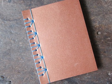 : Bronze Handmade Upcycled Japanese Style Stitch Blank Notebook