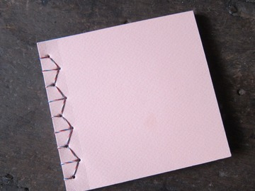 : Pink Handmade Upcycled Japanese Style Stitch Blank Notebook