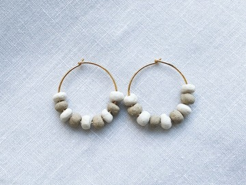 : Ceramic beaded hoop earrings