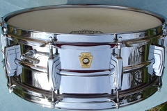Selling with online payment: 1960-61 LUDWIG Chrome over Brass 5x14 10 lug snare drum