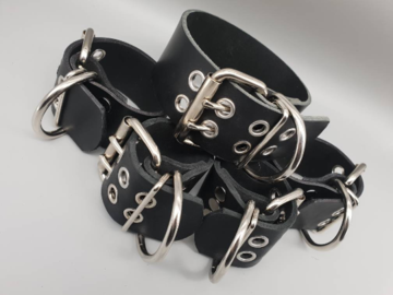 Selling with online payment: Full Grain Leather Collar, Wrist & Ankle Cuffs