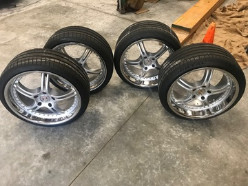 "Selling: Porsche 20"" rims and tires"