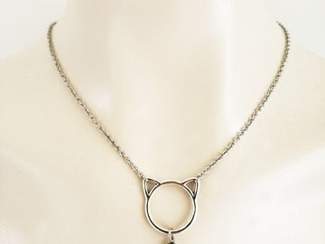 Selling with online payment: Stainless Steel Kitten Collar with Gemstone