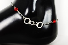 Selling with online payment: Handcuff Anklet with Red Crystals