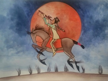 """Selling: Song of the Blood Moon. Print - 11"""" x 14"""" matted."""