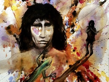 """Selling: The Lizard King. Print - 11"""" x 14"""" matted."""