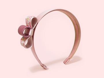 : Baram Pink Floral-print and Grosgrain Bow Satin Handmade Headband