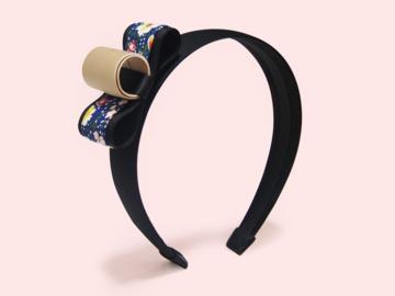 : Baram Floral-print and Grosgrain Bow Satin Handmade Headband