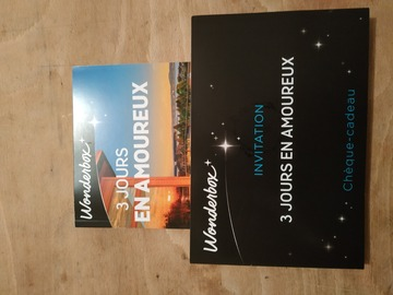 """Vente: Wonderbox """"3 jours en amoureux"""" (99,90€)"""