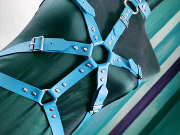 Selling with online payment: Cyan blue faux leather upper body harness