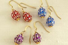 Buy Now: Fabergé Egg Earrings in 3 colors!  Blue, Red, Purple