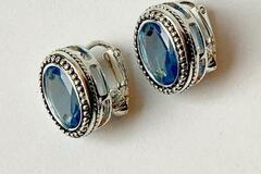Buy Now: Avon Decorative Oval Sapphire Earrings (Clips)