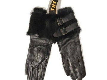 Buy Now: Women's Leather Gloves W/ Belt And Rabbit Fur Design