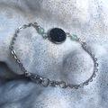 Vente au détail: Bracelet cabochon cuir noir et fluorites