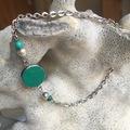 Vente au détail: Bracelet cabochon cuir vert et turquoises