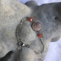 Vente au détail: Bracelet cabochon cuir rose-cuivré et cornalines