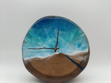 : Fir Wood Cookie x Ocean Style x Transparent Sea Blue Resin Clock