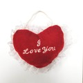 """Buy Now: 100 hears - """"I LOVE YOU"""" PLUSH HEART (6-Inch) With Lace Trim"""
