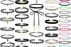 Buy Now: 50Pcs Black Choker Necklaces Set assorted styles