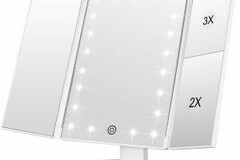 Buy Now: Elysian White Trifold Makeup Mirror- 24 LED Lighted With Magnific