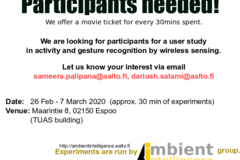 Job offer:  Participants needed for a gesture recognition study