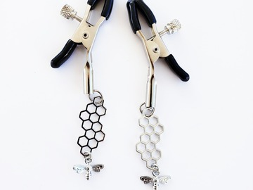 Selling with online payment: Adjustable Nipple Clamps with Silver Bee and Honeycomb