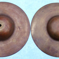 "Selling with online payment: Pair of 1920-30s Big Bell 10"" Hi-hat cymbals FREE SHIPPING"