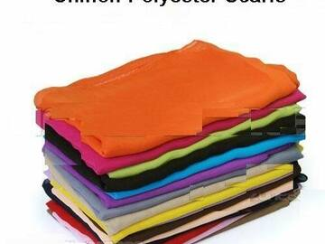 Liquidation/Wholesale Lot: Solid Color 100% Polyester Chiffon Scarf – Assorted Colors